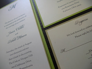 custom wedding invitation: lime green (chartreuse) and gold flat panel with monogram