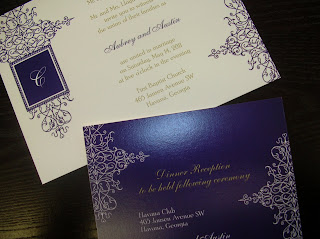 catalog wedding invitation: purple, gold, ecru flat panel from Carlson Crafts Exclusive II Album