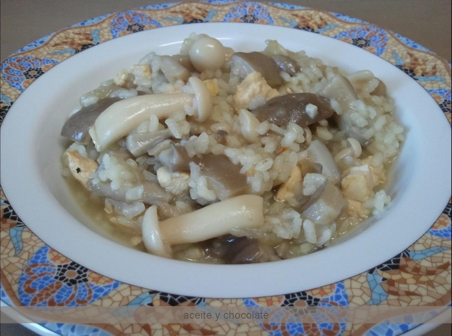 Arroz Caldoso Con Setas Y Pollo aceite y chocolate: arroz meloso con pollo y setas
