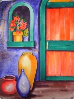 Watercolor in the village tetradic color schemes - Violet and orange combination ...