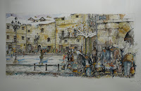 Acuarela de la serie 'Del ayer bonito', donde pueden verse a algunos paisanos preparando unas 'ollas ferroviarias' en una esquina de la plaza del Ayuntamiento