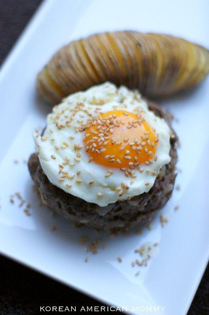 ... Mommy: Korean Hamburger Steak with White Sweet Potato Hasselback Style