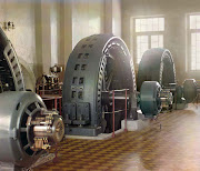 Factory Interior Showing Electrical Generators,