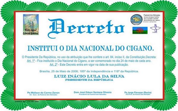 Decreto Dia Nacional do Cigano