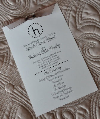 Layout Angie Wedding Program Ink Color Brown Paper Natural Linen