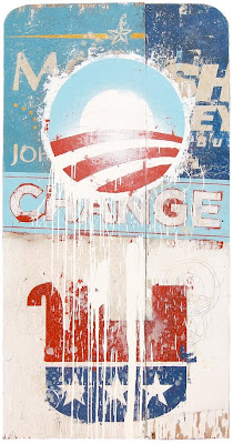 design poster of the campaign of Barrack Obama, president of the United States