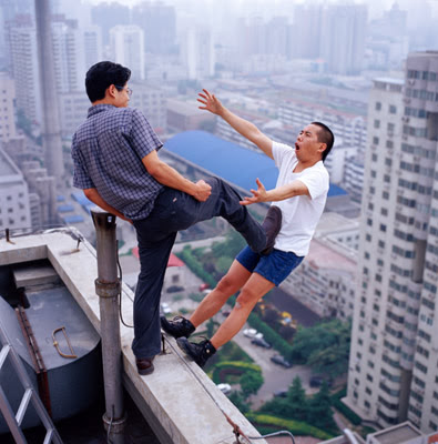 Lei Wei photo, man falling from the top of a tower