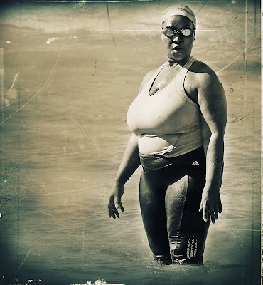 black and white big mama wearing goggles
