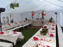 Vikbolandet trädgårdsbröllop valla gård Dukning Och dekorationer gjorda av miig