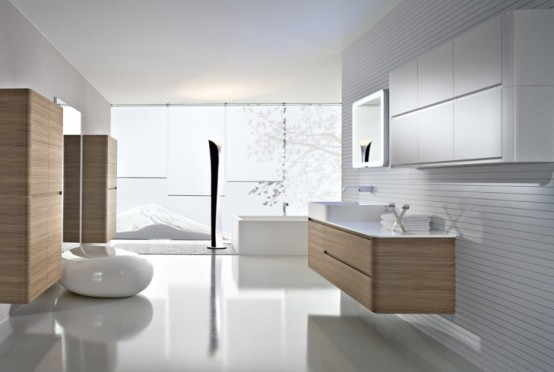 Modern Interior Walnut Bathroom Furniture Decorate
