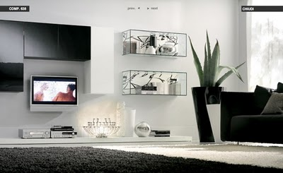 glass shelves white livingroom