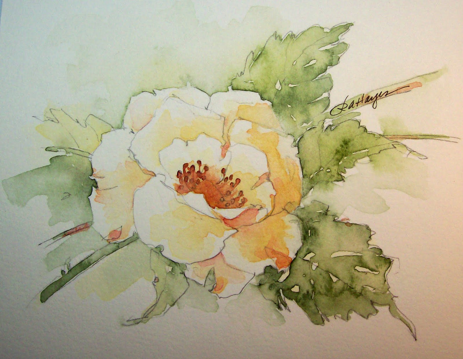 Watercolor paintings by roseann hayes wild yellow rose for How to paint a rose watercolor