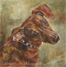A painting of Twix by Kathleen Coy