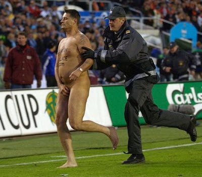 Mark Roberts the streaker caught by security