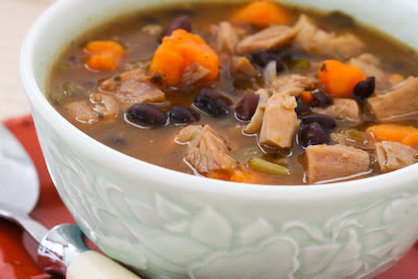 Original photo for Leftover Turkey and Sweet Potato Soup Recipe with Black Beans and Lime found on KalynsKitchen.com