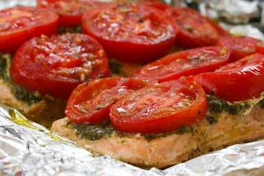 Original photo Foil-Baked Salmon with Basil Pesto and Tomatoes found on KalynsKitchen.com.