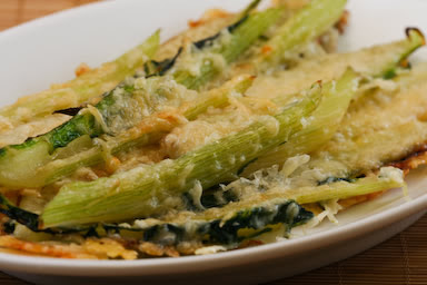 Baked Swiss Chard Stems with Parmesan