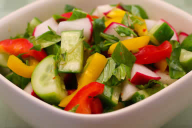 Radish and Cucumber Salad Recipe with Peppers and Thai Basil from KalynsKitchen.com
