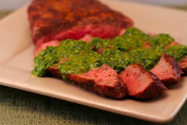 Grilled Flat Iron Steak Recipe with Chimichurri Sauce ...