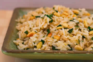 Kalyn's Kitchen®: Basil and Parmesan Rice with Pine Nuts