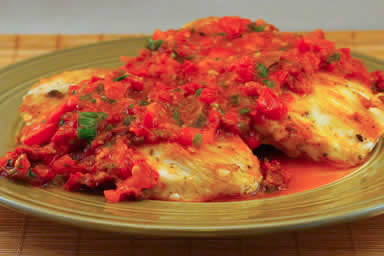 Sauteed Chicken Breasts Recipe with Warm Tomato-Tarragon Salsa found on KalynsKitchen.com