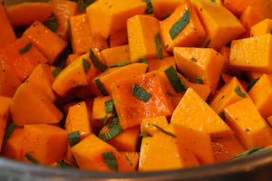 Recipe for Foil-Wrapped Grilled Butternut Squash with Sage (Gluten-Free, Meatless) found on KalynsKitchen.com