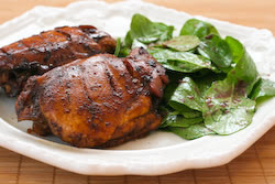 Roasted Chicken Thighs with Black Bean Garlic Marinade found on KalynsKitchen.com