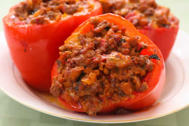 Red Peppers Stuffed with Italian Sausage, Ground Beef, and Mozzarella