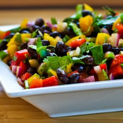 Black Bean and Pepper Salad with Cilantro and Lime found on KalynsKitchen.com