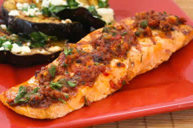 Grilled Salmon with Tomato Relish