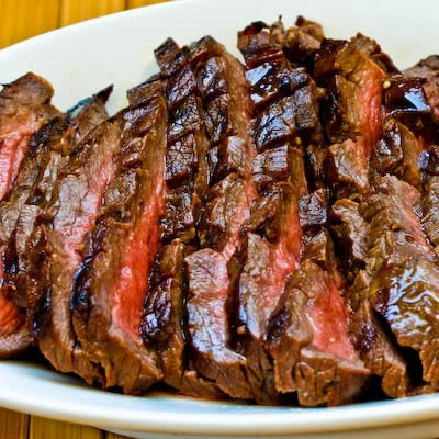 Marinated Flank Steak Recipe found on KalynsKitchen.com