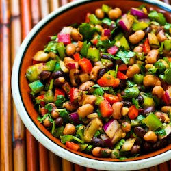 ... Southwestern Bean Salad with Black Beans, Black-Eyed Peas, Peppers