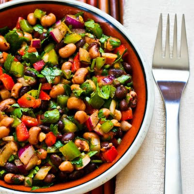 Southwestern Bean Salad with Black Beans, Black-Eyed Peas, Peppers, and Cilantro