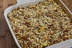 Low-Sugar Flourless Apple Crisp made with Olive Oil (Vegan, Gluten-Free) found on KalynsKitchen.com