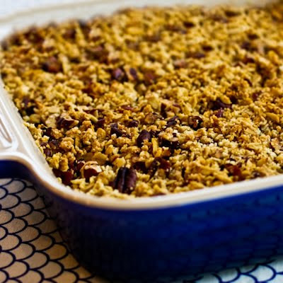 Low-Sugar, Flourless Apple Crisp made with Olive Oil