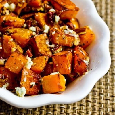 Roasted Butternut Squash with Rosemary, Pecans, and Gorgonzola Cheese found on KalynsKitchen.com