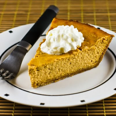 Low-Sugar Pumpkin Cheesecake Pie [found on KalynsKitchen.com]