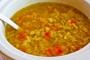 Crockpot (or Stovetop) Ham and Cabbage Soup with Red Bell Pepper found on KalynsKitchen.com