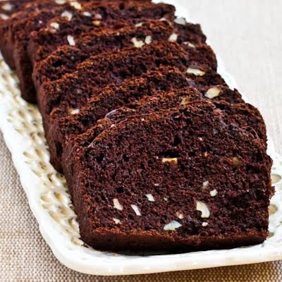Low-Sugar and Whole Wheat Chocolate Zucchini Bread found on KalynsKitchen.com