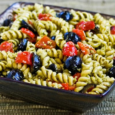 Easy Pesto Pasta Salad with Olives and Roasted Red Peppers found on ...