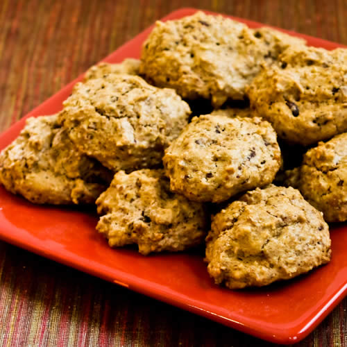 Low-Sugar and Whole Wheat Ranger Cookies, with Pecans, Coconut, and Chocolate.
