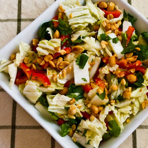 Napa Cabbage Salad with Red Bell Pepper, Cilantro, Peanuts, and Ginger-Dijon Dressing