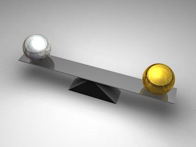 balance, silver, gold, seesaw, beam, balls