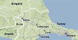 Mappa della regione di Evros