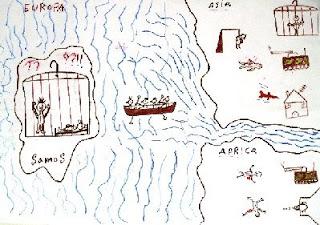 Disegno fatto da un bambino detenuto nel vecchio campo di Samos