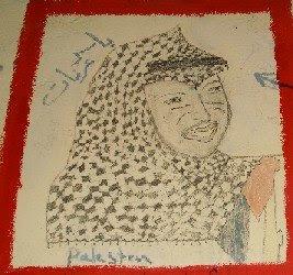 ritratto di Yasser Arafat su una parete del vecchio campo di detenzione di Samos