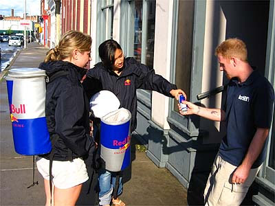 red bull sampling • red bull employs sampling teams or red bull student brand managers throughout the world that set up sampling programs in strategic locations include sporting events, concerts, or any place where people are tired.