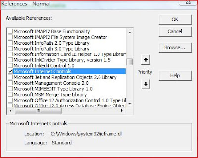 Microsoft Internet Controls - VBA Reference