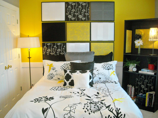Potential treasures diy headboards for Black and white and yellow bedroom ideas
