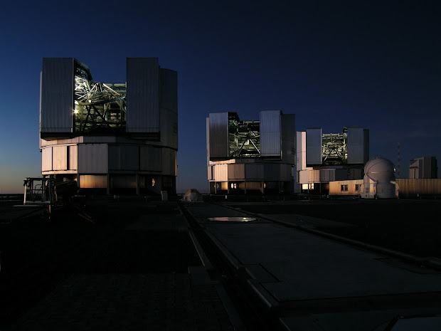 The ESO's Very Large Telescope ready for the night at Paranal